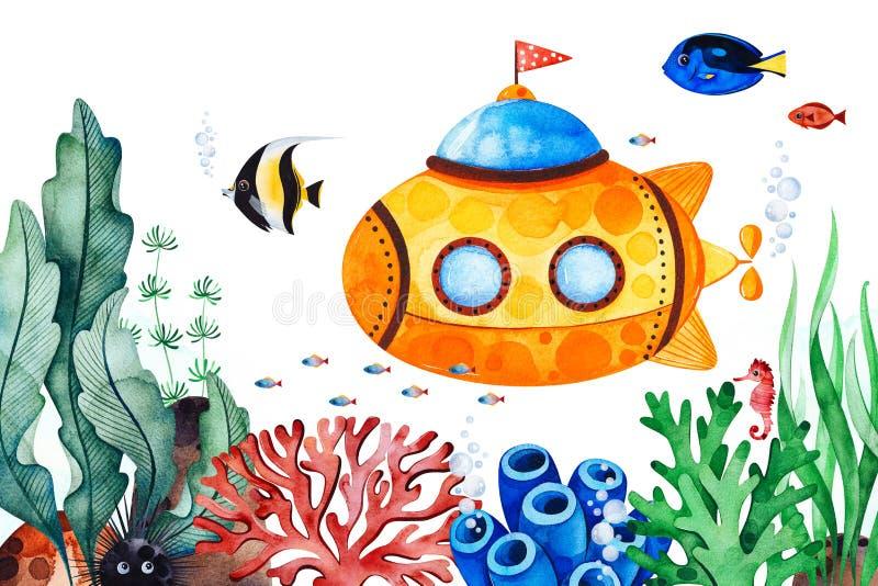 Unterwassergeschöpfe vor-machten Grußkarte mit mehrfarbigen Korallen, Meerespflanzen, Fischen, Seahorse und gelbem Unterseeboot vektor abbildung