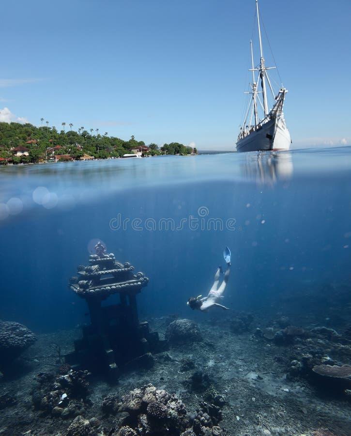 Unterwassergrenzstein Lizenzfreies Stockfoto