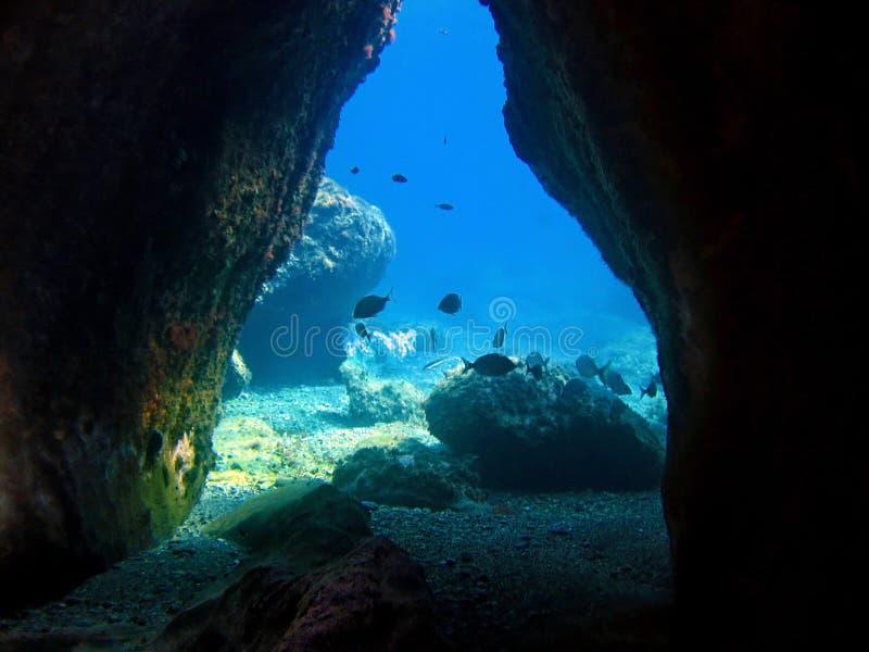 Unterwasserhöhle lizenzfreie stockfotos