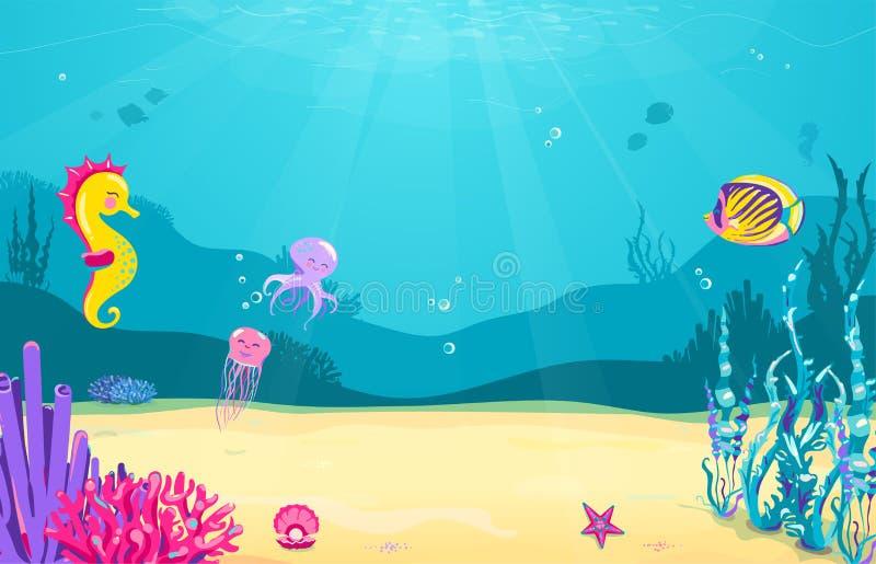 Unterwasserkarikaturhintergrund mit Fischen, Sand, Meerespflanze, Perle, Qualle, Koralle, Starfish, Krake, Seepferdchen Ozeanmeer lizenzfreie abbildung