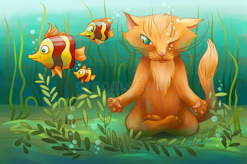 Unterwasserkatze, die Yoga tut lizenzfreie abbildung