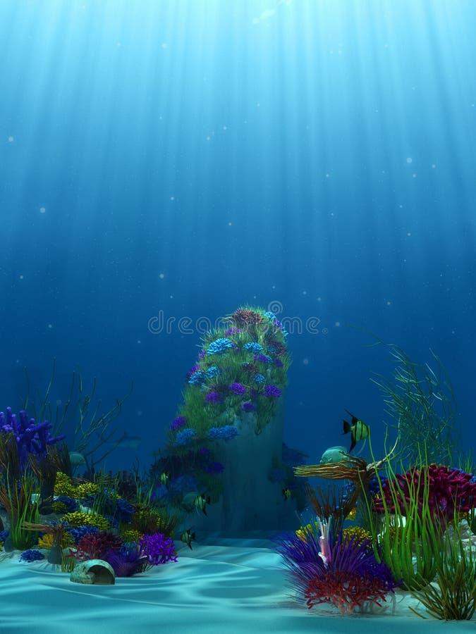 Unterwasserlandschaft mit Korallenriffen stock abbildung