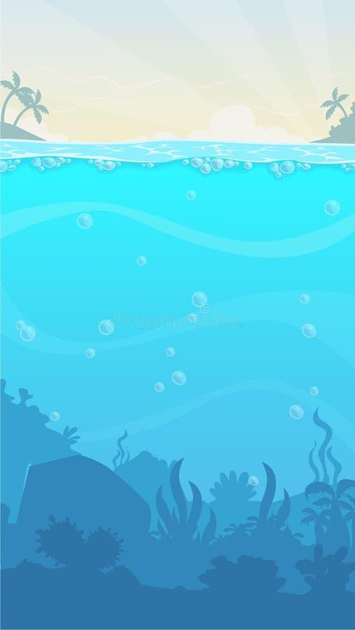 Unterwasserlandschaft, Vektorillustration Schöner unterseeischer Standort lizenzfreie abbildung