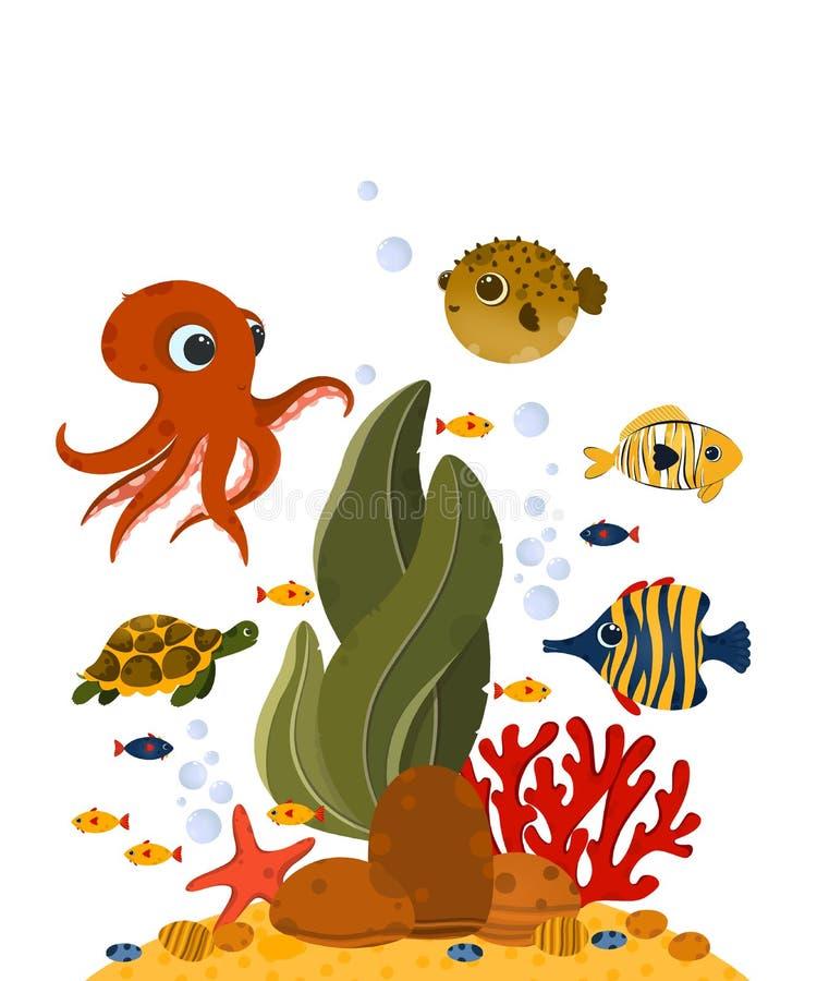 Unterwasserlebenpostkarte lizenzfreies stockbild