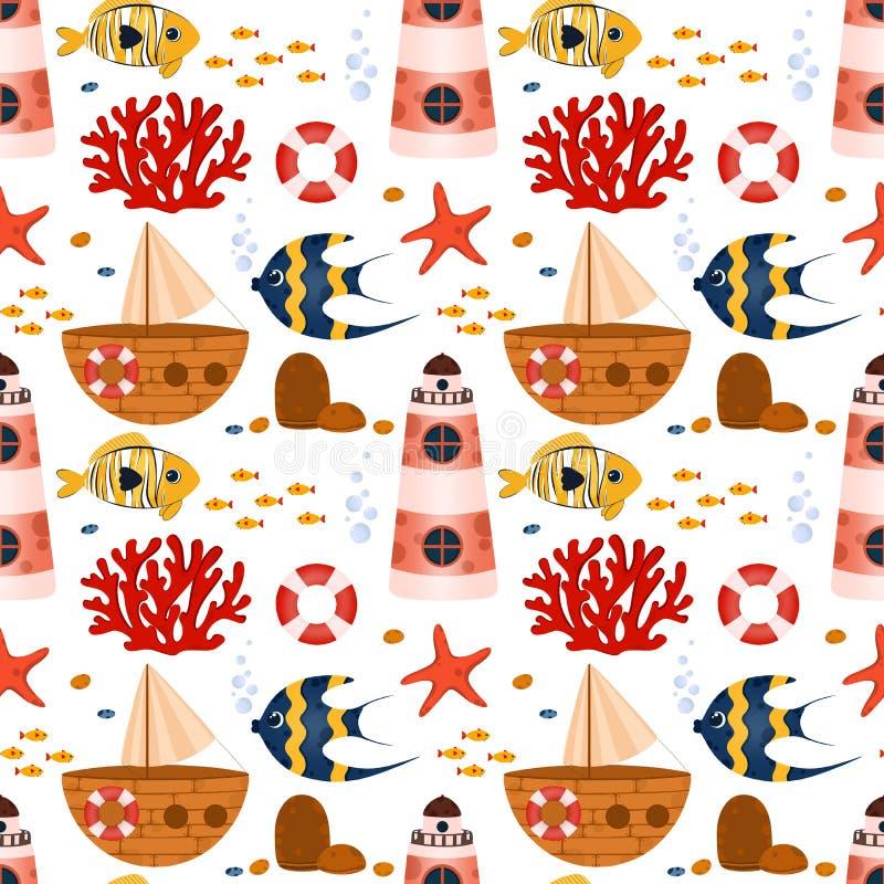 Unterwasserlebens-nahtloses Muster lizenzfreies stockfoto