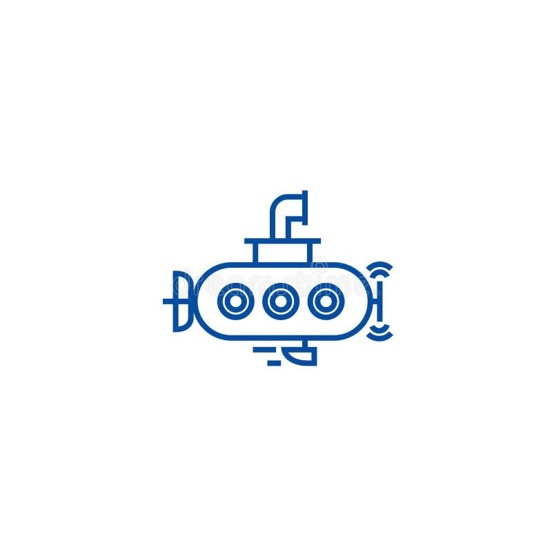 Unterwasserlinie Ikonenkonzept Flaches Vektorunterwassersymbol, Zeichen, Entwurfsillustration lizenzfreie abbildung