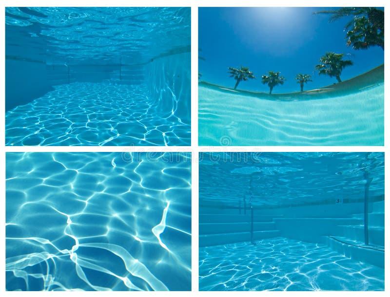 Unterwasserpool-Collage lizenzfreie stockfotografie
