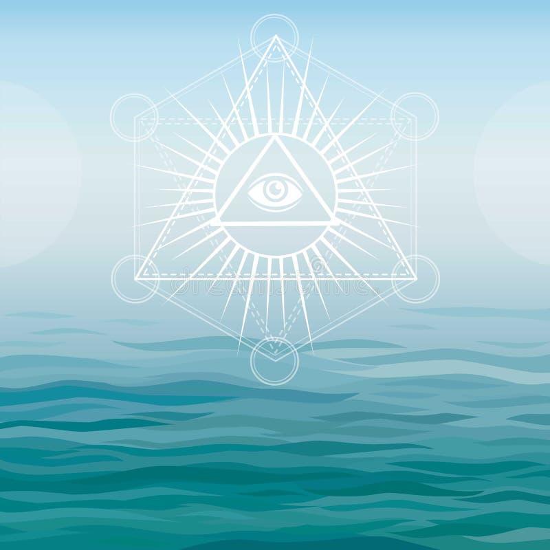 Unterwasserpyramiden Bermuda-Dreieck lizenzfreie abbildung