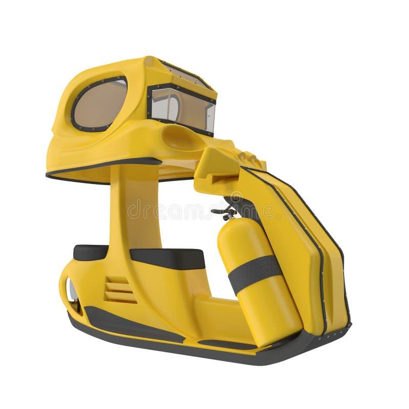 Unterwasserroller-tauchende gelbe Farbe, 3D Illustrationisolated auf weißem Hintergrund vektor abbildung