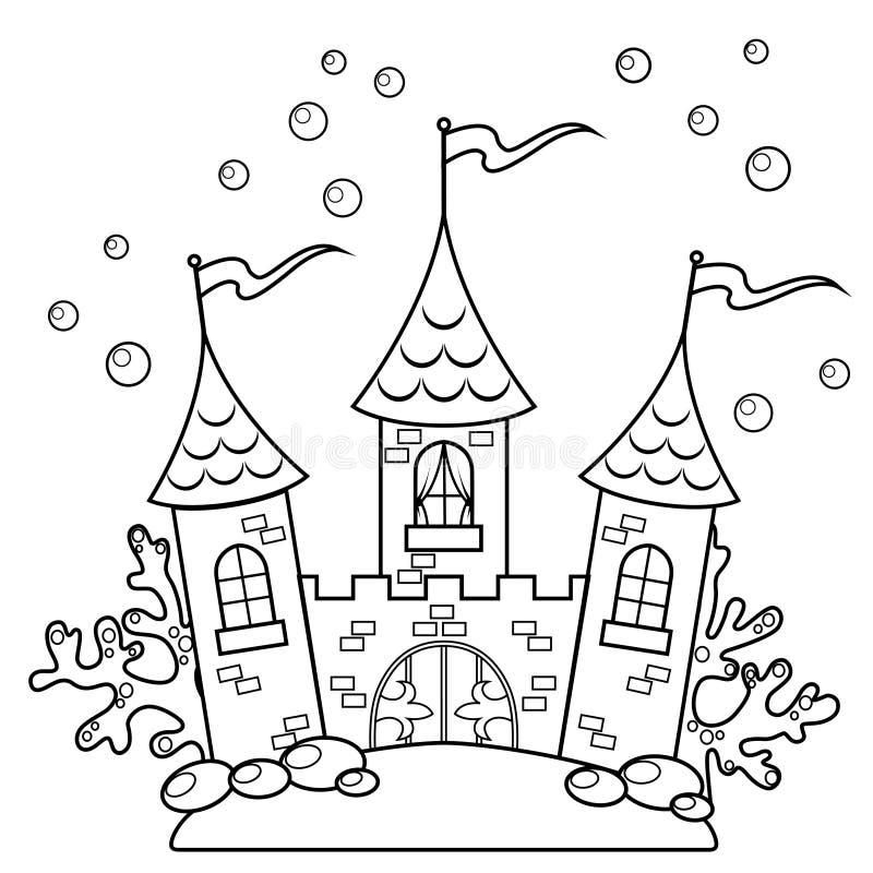 Unterwasserschloss Schwarzweiss-Vektorillustration für Malbuch stock abbildung