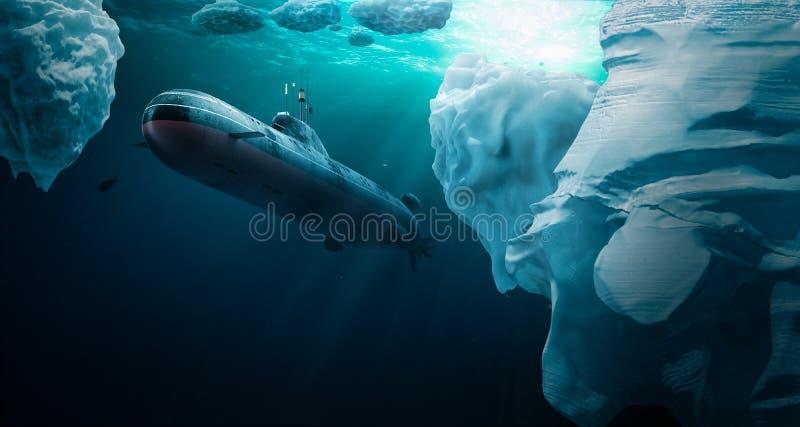 Unterwassertauchen unter dem Eis stockbilder