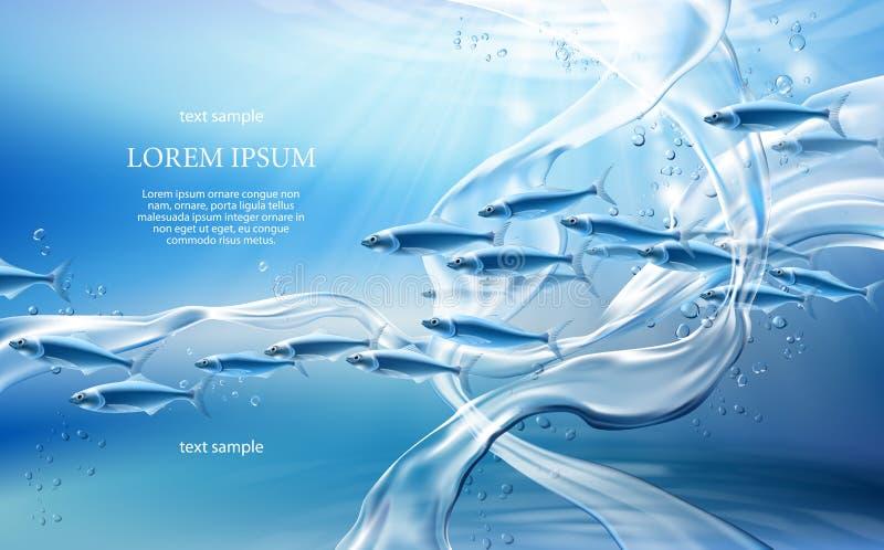 Unterwasservektorillustration des weltkonzeptes 3D vektor abbildung