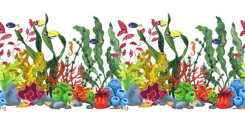 Unterwasserwelt des Aquarells nahtlose Grenzvon Korallen und von Fischen lizenzfreie abbildung