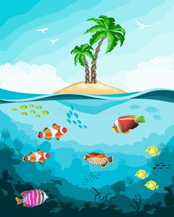 Unterwasserwelt mit Fischen und Tropeninsel vektor abbildung