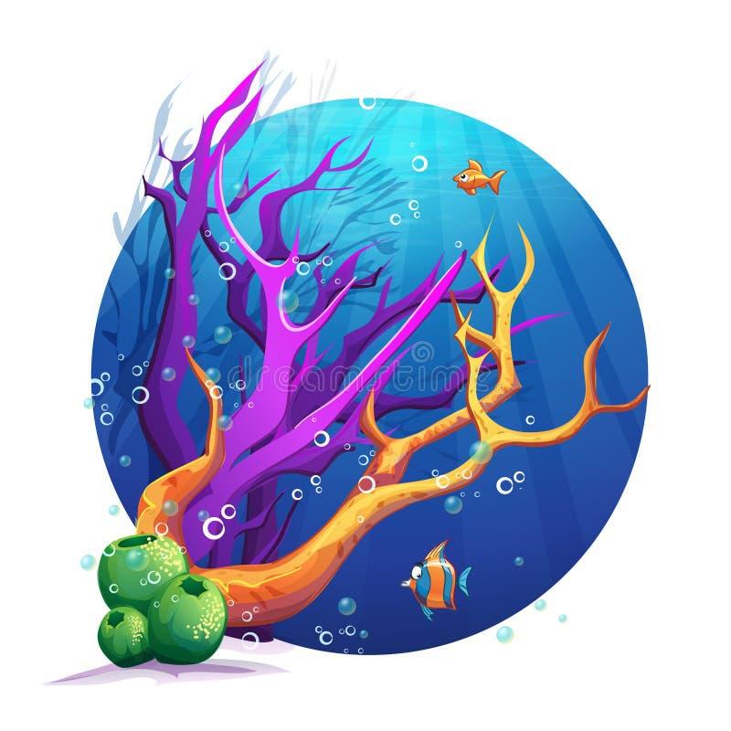 Unterwasserwelt mit Korallen und Fischspaß lizenzfreie abbildung
