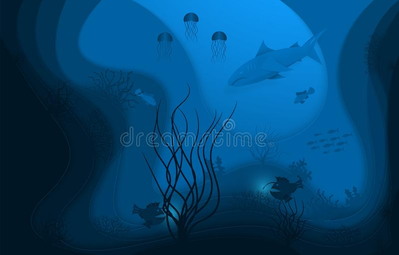 Unterwasserwelt, Papierart Kraftpapier, Unterwasserozeanleben Tiefseefische und Algen vektor abbildung