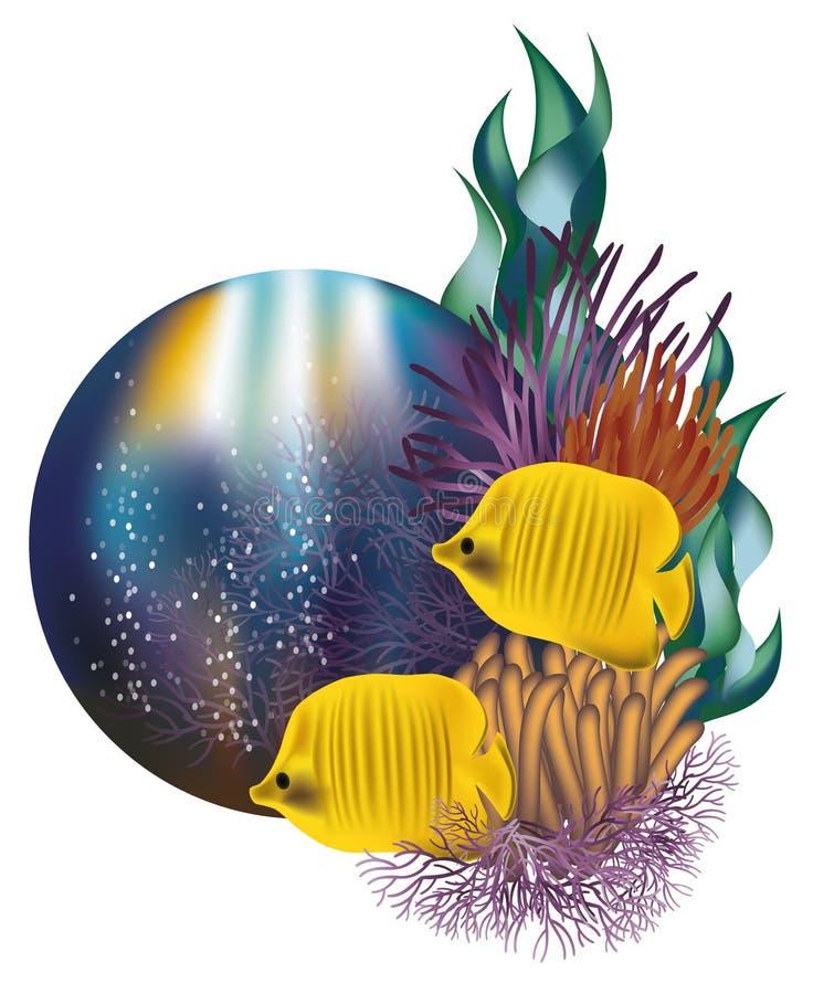 Unterwasserweltfahne mit gelben Fischen stock abbildung