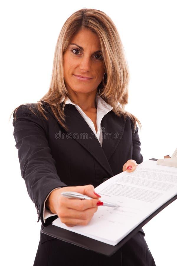 Unterzeichnen Sie den Vertrag, bitte lizenzfreies stockfoto