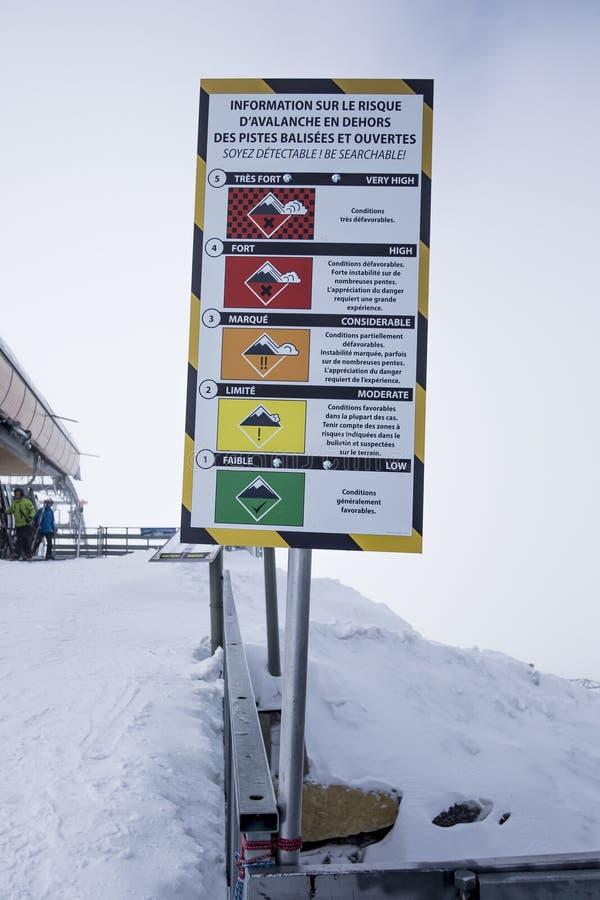 Unterzeichnen Sie die Anzeige des Risikos der Lawinen im Skigebiet des drei Tal ` s, Meribel, die französischen Alpen lizenzfreies stockbild