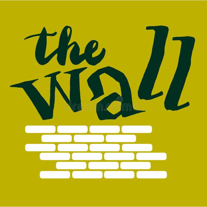 Unterzeichnen Sie die Wand mit Bild von Ziegelsteinen Vektor lizenzfreie abbildung