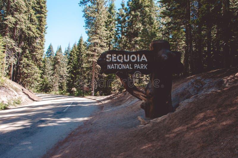 Unterzeichnen Sie am Eingang zum Mammutbaum-Nationalpark, Kalifornien, USA stockfoto