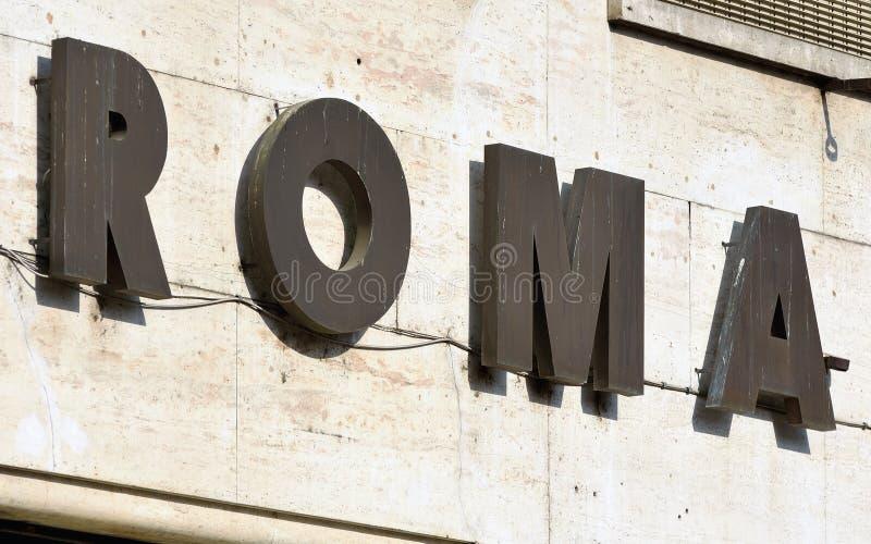 Unterzeichnen Sie Lesung 'Rom', Rom, Italien lizenzfreies stockbild