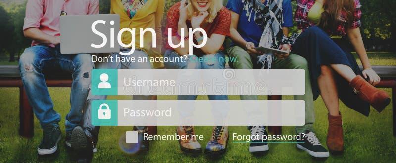 Unterzeichnen Sie oben Mitglied sich anschließen Ausrichtungs-Konto senden Konzept stockbild