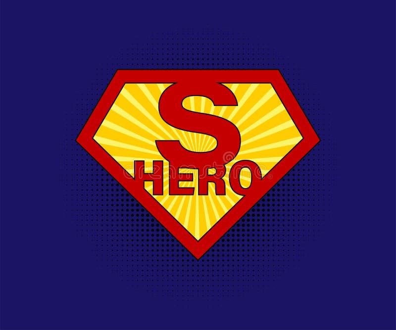 Unterzeichnen Sie Superhelden auf blauem Hintergrund mit Halbton in der komischen Art vektor abbildung
