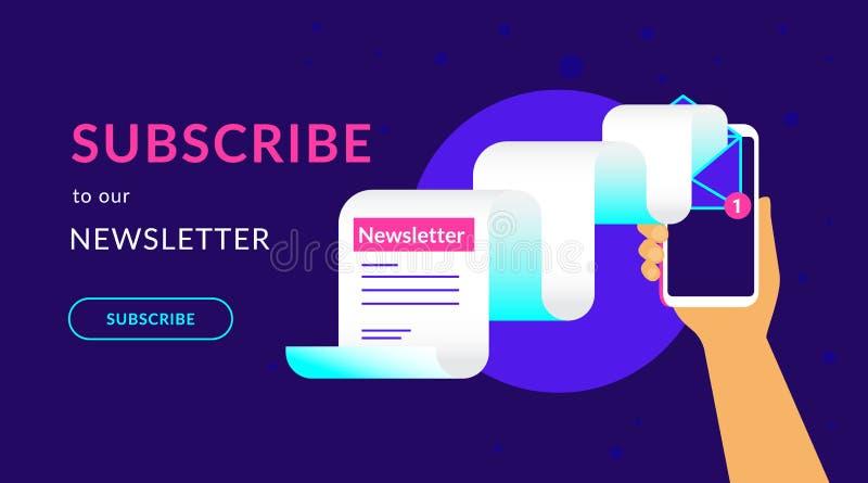 Unterzeichnen Sie zu unserer Neonillustration des wöchentlichen Vektors des Newsletters flachen für ui ux Webdesign vektor abbildung