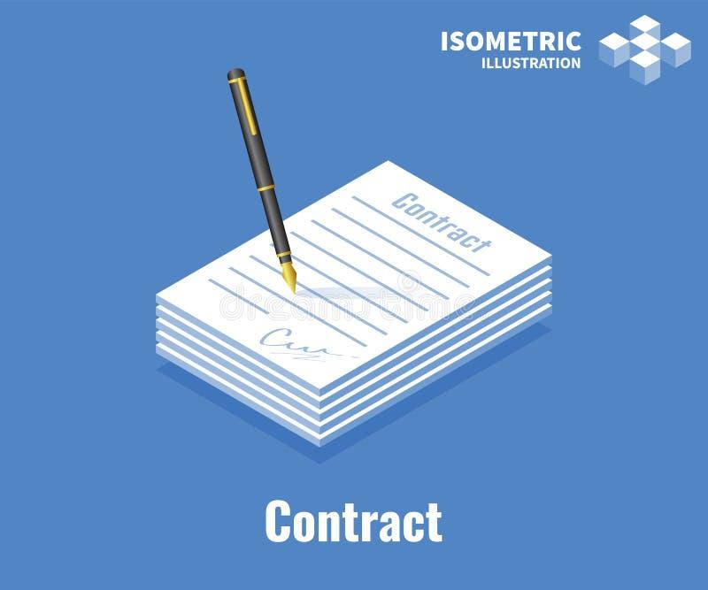 Unterzeichnende Vertrags-Ikone Papierdokument mit Unterzeichnung und Stift Illustration des Vektors 3D lokalisiert auf blauem Hin stock abbildung