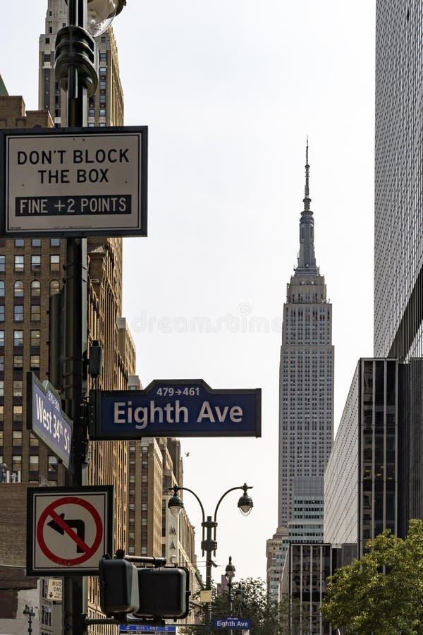 Unterzeichnet herein New York City auf der Ecke von Allee acht und von Westen-34. St. lizenzfreie stockfotos
