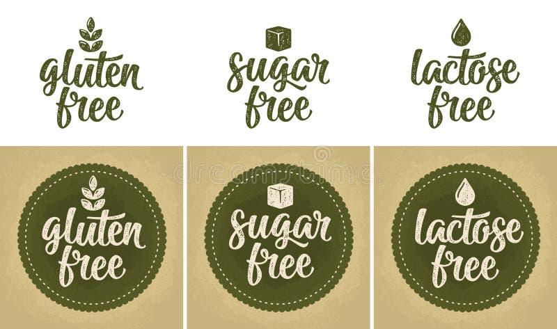 Unterzeichnet Laktose, Zucker, freie Beschriftung des Glutens Tropfen, Blatt, beige Weinleseillustration des Würfelvektors lokali vektor abbildung