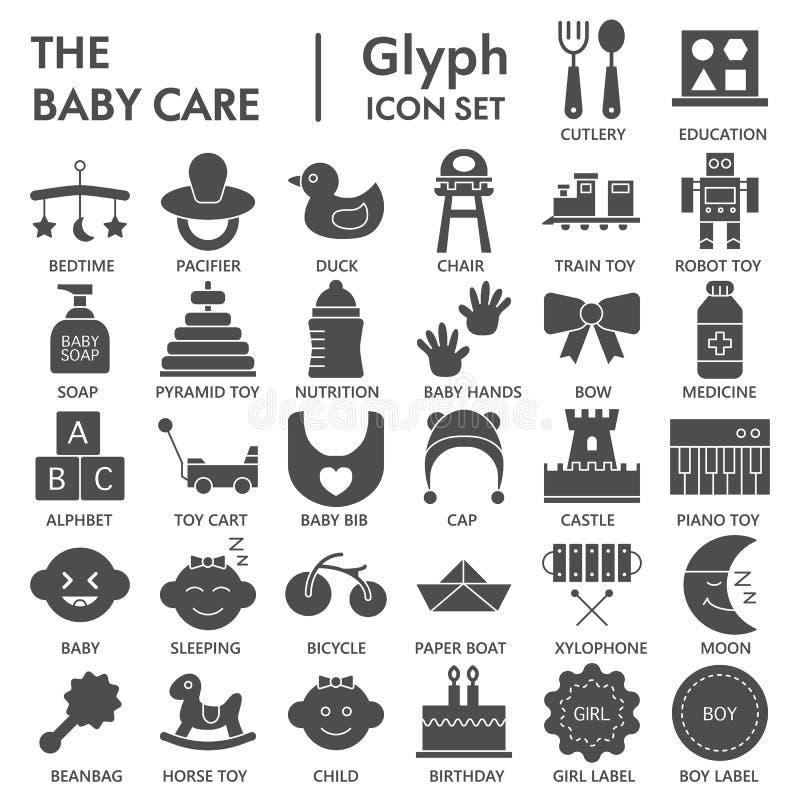 UNTERZEICHNETER Ikonensatz des Babys Glyph, Spielzeugsymbole Sammlung, Vektorskizzen, Logoillustrationen, feste Piktogramme der K lizenzfreie abbildung