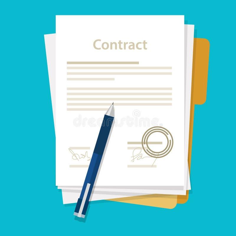 Unterzeichneter Papierabkommenvertragsikonen-Vereinbarungsstift auf Geschäfts-Illustrationsvektor des Schreibtisches flachem vektor abbildung