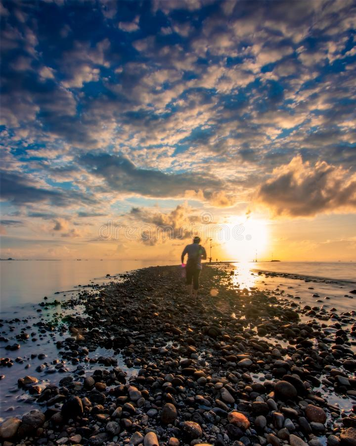Blue hour at Untia Harbour Makassar royalty free stock image
