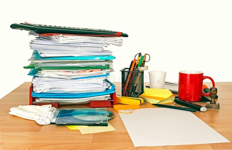 Untidy desk royalty free stock photo