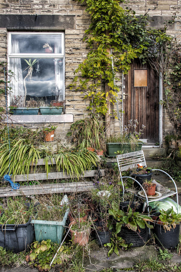 Untidy front garden stock photography