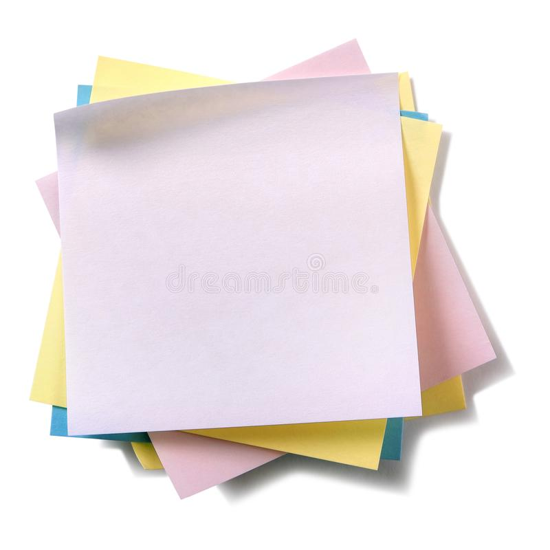 Untidy pile various colors sticky post notes isolated on white background royalty free stock images