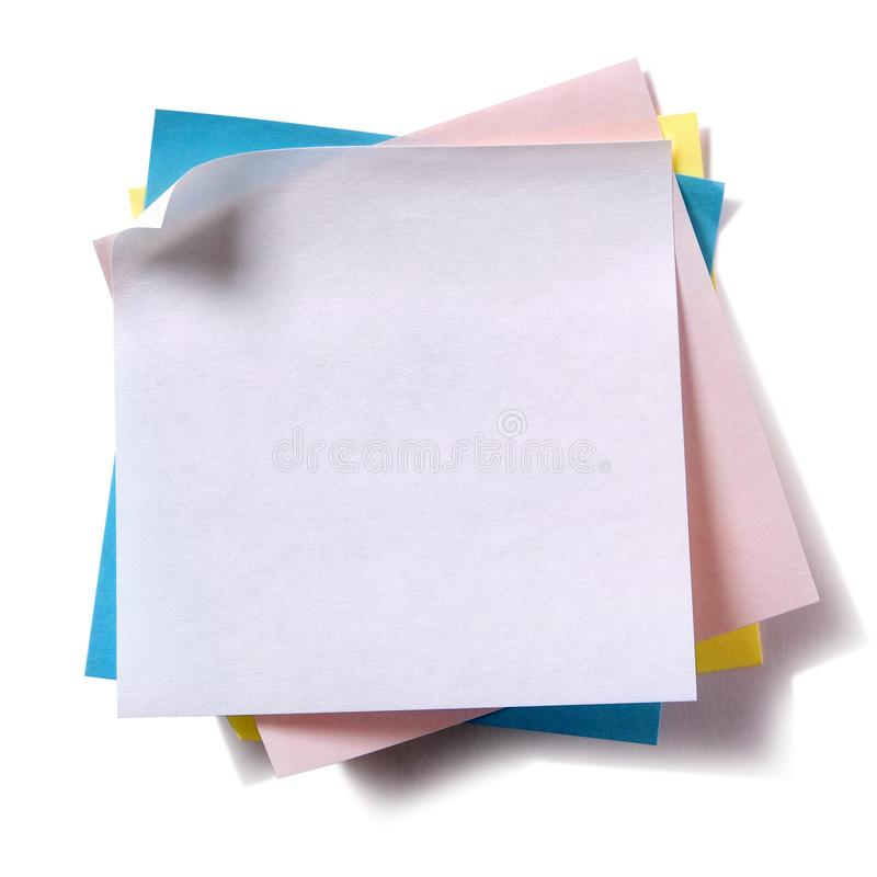 Untidy pile various colors sticky post notes isolated on white background royalty free stock photo