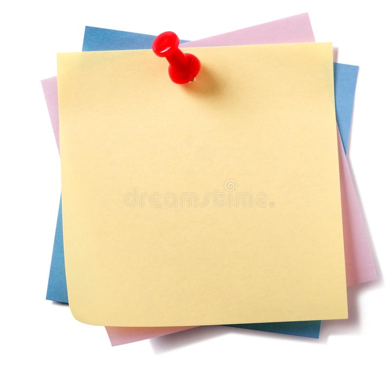 Untidy stack various different colors sticky post it notes pinned isolated royalty free stock photo