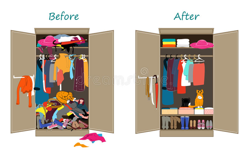 Download Before Untidy And After Tidy Wardrobe Messy Clothes Thrown On A Shelf Nicely