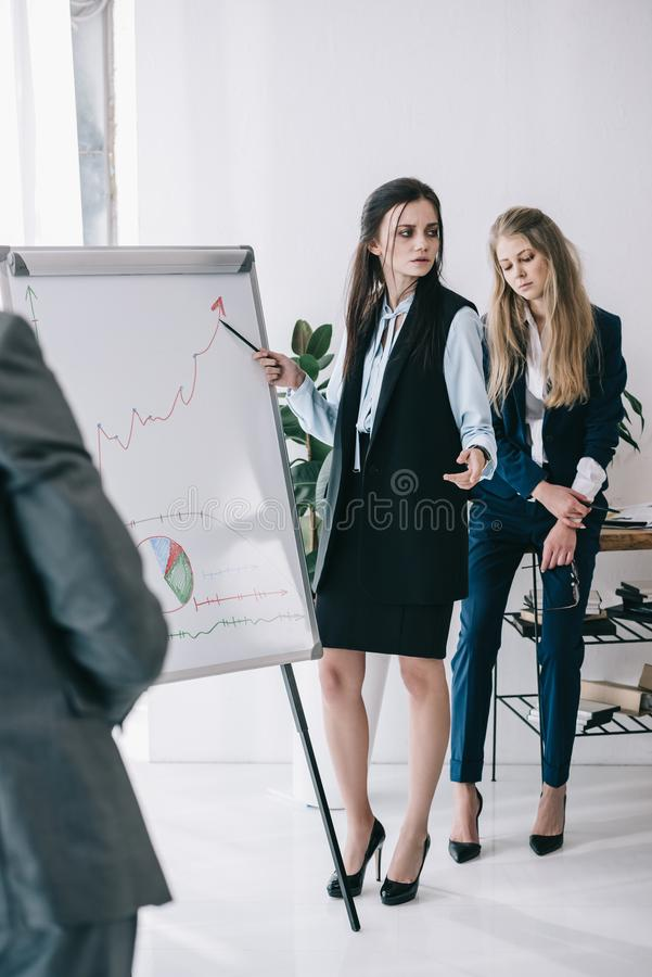untidy tired businesswomen making presentation stock image