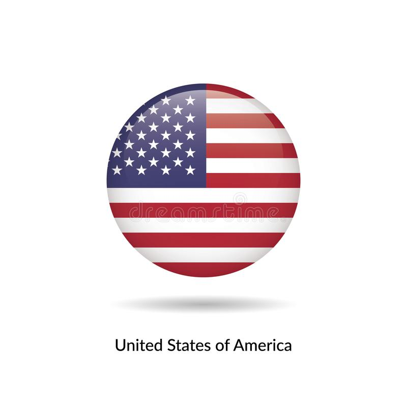Untied States of America flag - round glossy. Button. Vector Illustration stock illustration