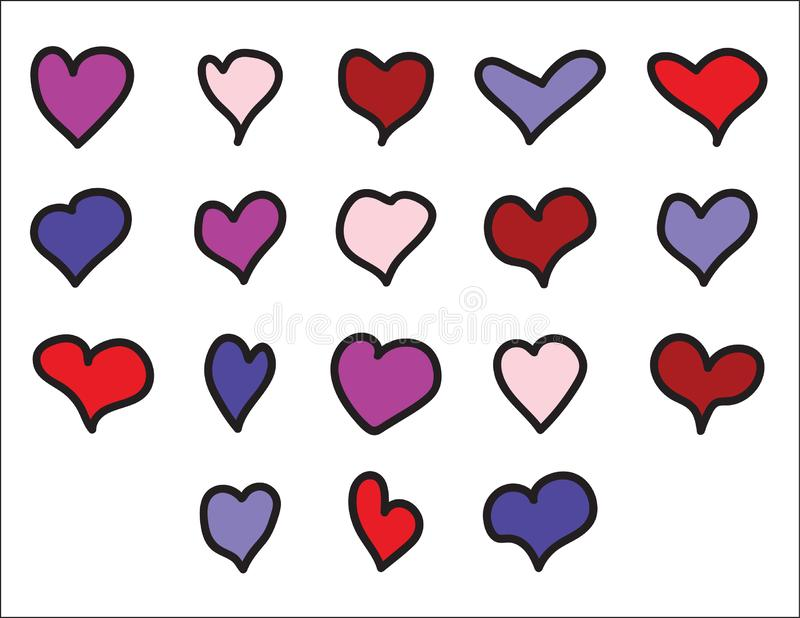 Set of color hand drawn hearts with Black contour. Set of color hand drawn hearts Pink,Purple, Red, Blue with Black contour on white background stock illustration