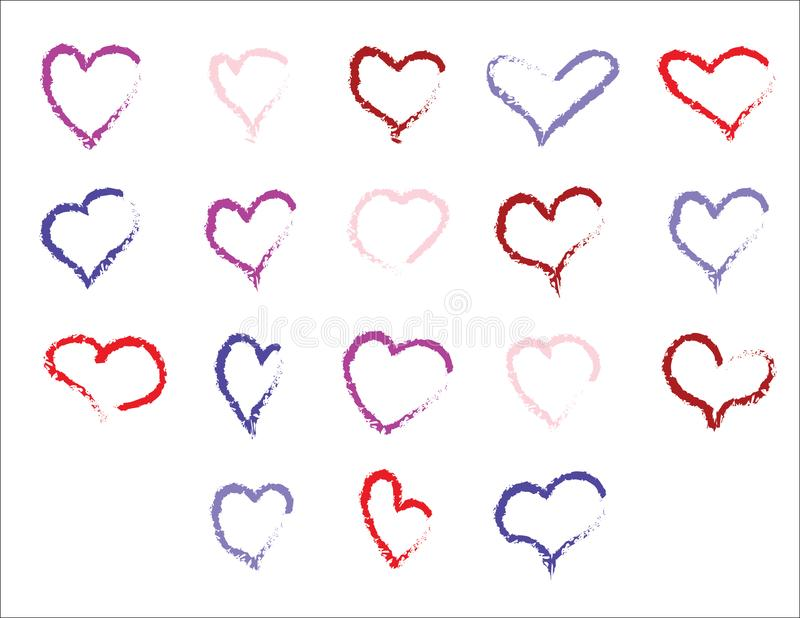 Set of color hand drawn hearts with chalk effect. Set of color hand drawn hearts Pink, Red, Blue with chalk effect royalty free illustration