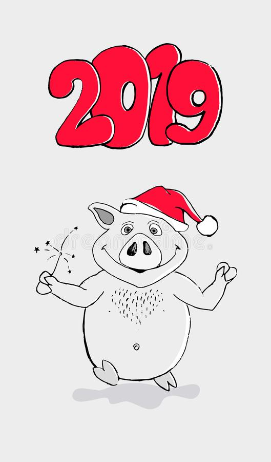 Happy New Year 2019 funny card design with cartoon pig print. Merry Christmas vector illustration