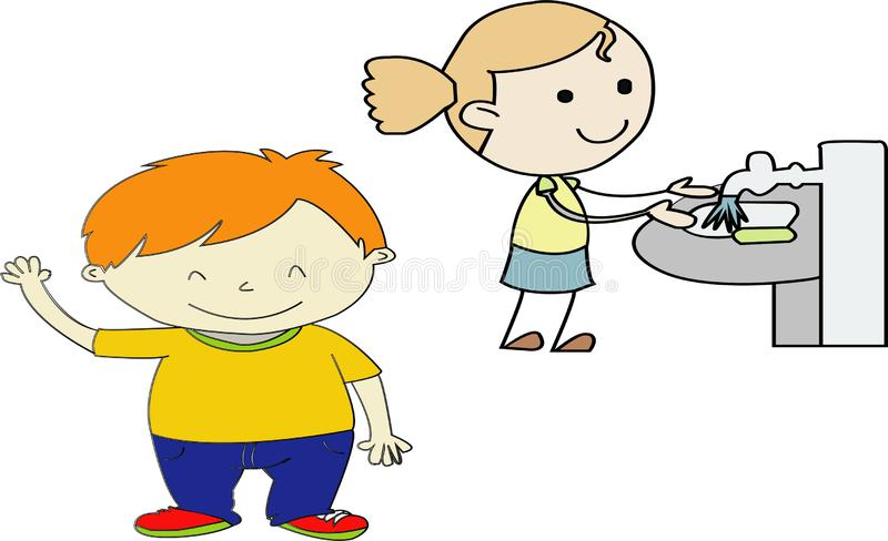 Untitled-Vector Illustration Of Funny Kids Playing - Images vectorielles brushing teeth --greeting friends. Vector Illustration Of Funny Kids Playing - Images vector illustration
