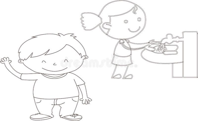 Vector Illustration Of Funny Kids Playing - Images vectorielles brushing teeth --greeting friends vector illustration