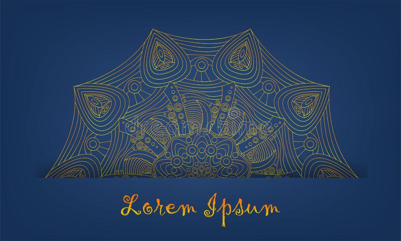 Untitled-1. Gold and Indian pattern, paper effect, vector graphics vector illustration