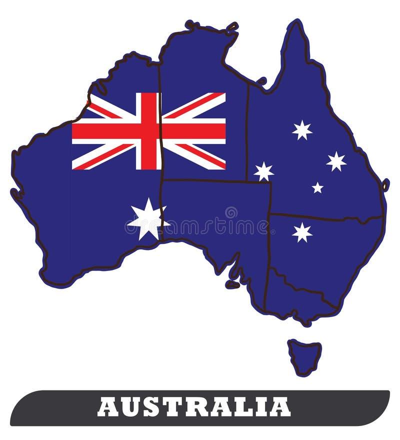 Australian Map and Australian Flag royalty free illustration